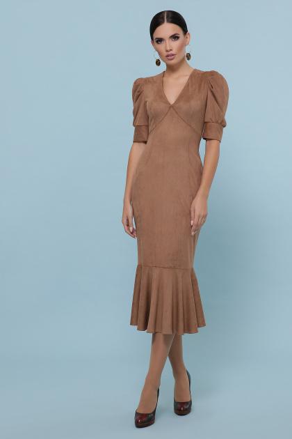 бежевое платье из замши. платье Дания к/р. Цвет: бежевый