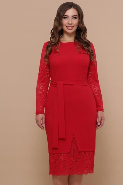 красное платье батал. платье Марика-Б д/р. Цвет: красный