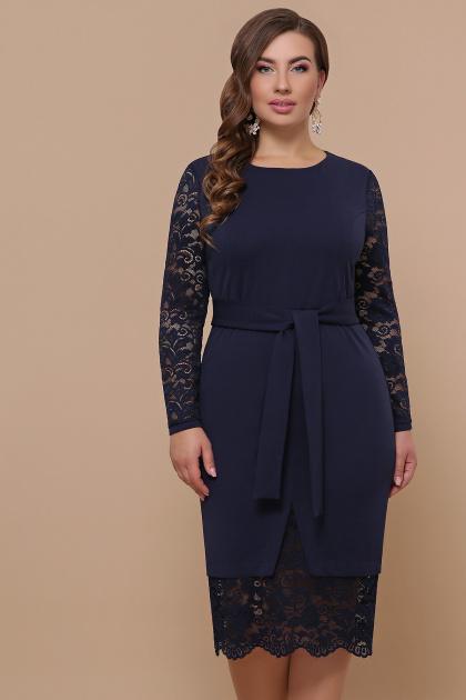 красное платье батал. платье Марика-Б д/р. Цвет: синий