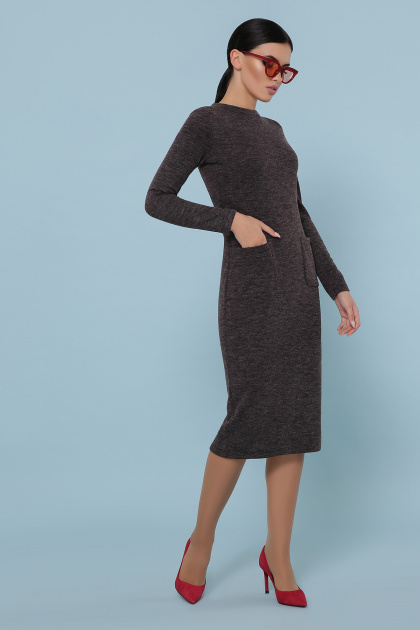 коричневое платье из ангоры. платье Габриела д/р. Цвет: шоколад