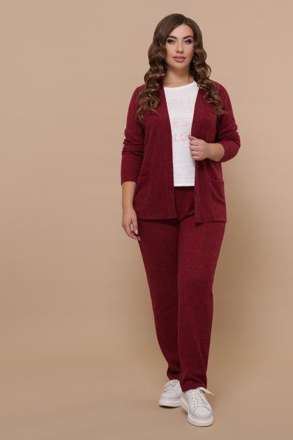бордовый костюм для полных женщин. Костюм Трейси-Б. Цвет: бордо