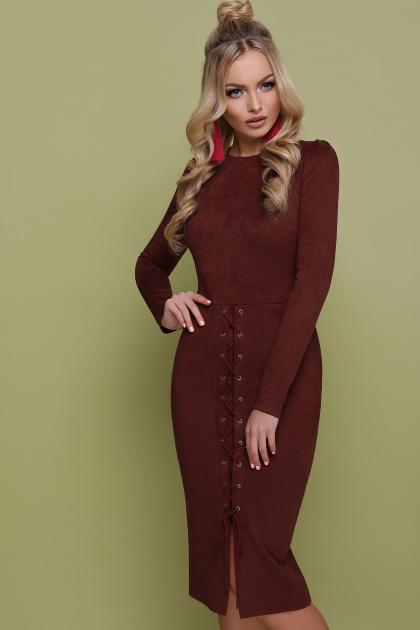 коричневое замшевое платье. платье Таяна д/р. Цвет: коричневый