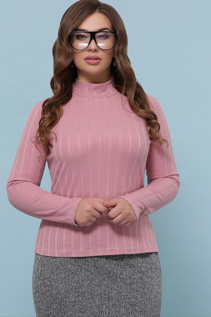 облегающая кофта для пышных женщин. Гольф-1Б. Цвет: т.розовый