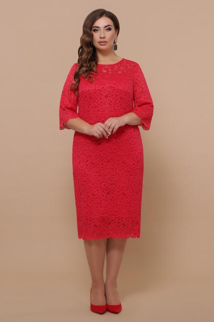 лиловое платье больших размеров. платье Сания-Б 3/4. Цвет: красный