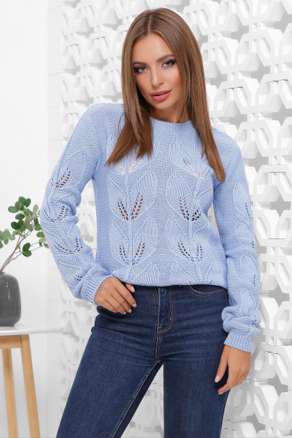 голубой свитер с круглым вырезом. Свитер 164. Цвет: голубой
