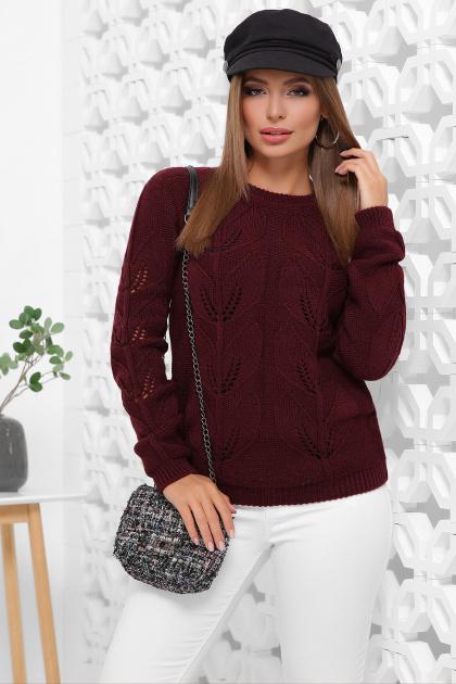 пудровый вязаный свитер. Свитер 164. Цвет: марсала
