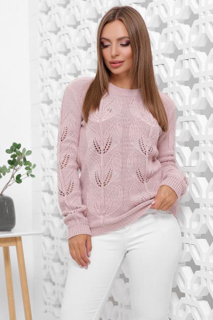 пудровый вязаный свитер. Свитер 164. Цвет: пудра