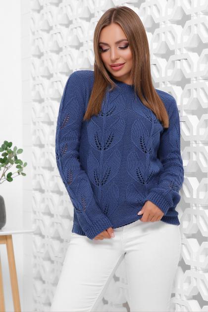пудровый вязаный свитер. Свитер 164. Цвет: синий