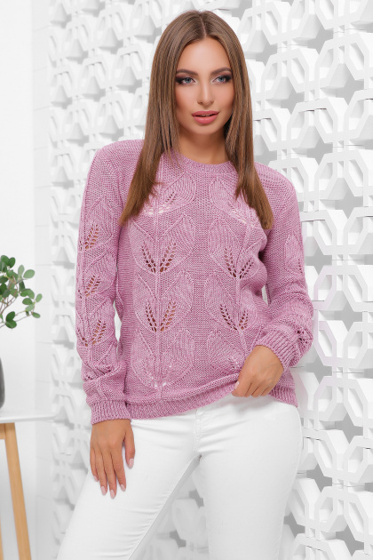 пудровый вязаный свитер. Свитер 164. Цвет: сирень