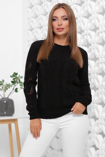 пудровый вязаный свитер. Свитер 164. Цвет: черный