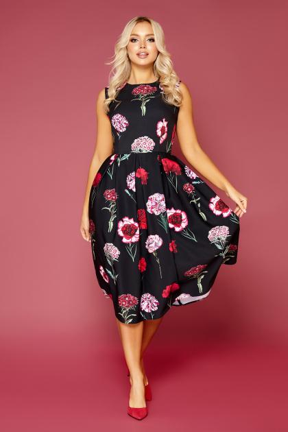 платье без рукавов с цветочным принтом. Гвоздики Платье Дара б/р. Цвет: черный
