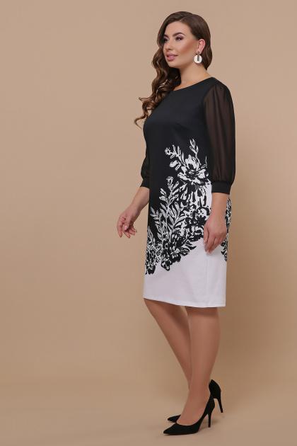 батальное черно-белое платье. Цветы черно-белые платье Талса-1Б д/р. Цвет: черный