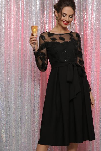 черное платье с прозрачными рукавами. платье Евангелина д/р. Цвет: черный