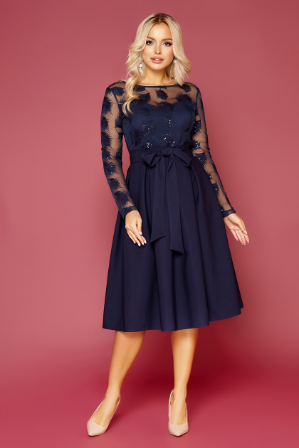 черное платье с прозрачными рукавами. платье Евангелина д/р. Цвет: синий