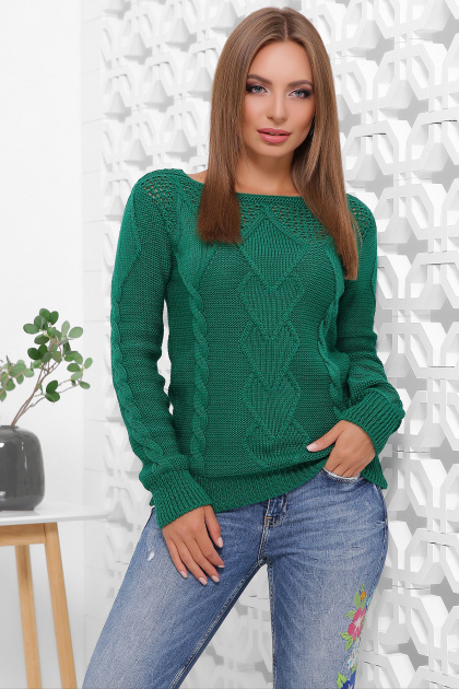 мятный женский свитер. Свитер 160. Цвет: изумрудный
