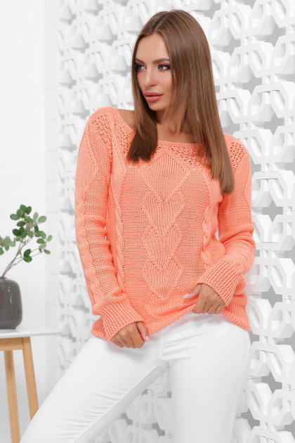 мятный женский свитер. Свитер 160. Цвет: персиковый