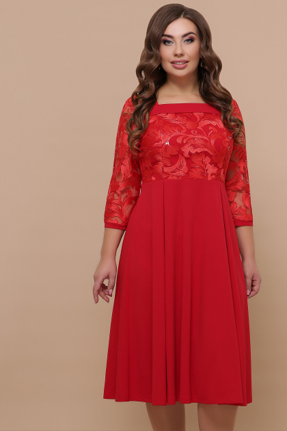 кружевное платье батал. платье Тифани Б д/р. Цвет: красный