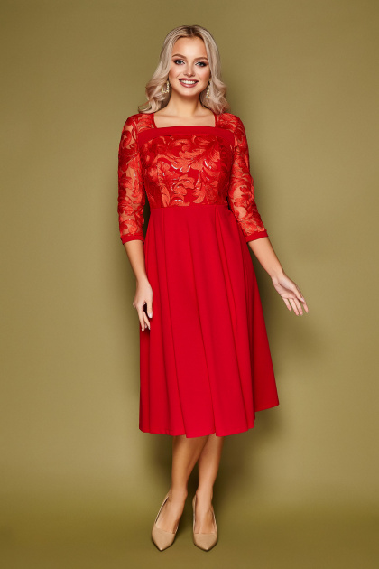 нарядное бежевое платье. платье Тифани д/р. Цвет: красный