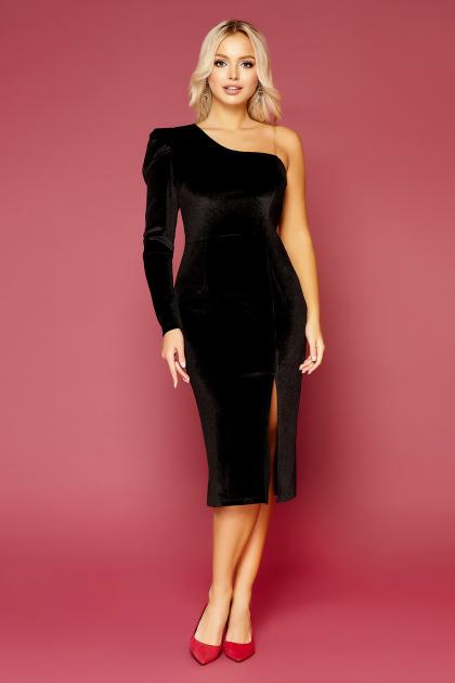 черное платье на одно плечо. платье Саманта д/р. Цвет: черный
