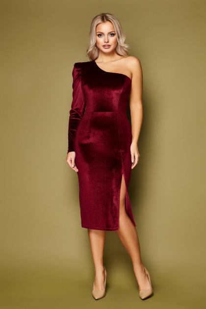 черное платье на одно плечо. платье Саманта д/р. Цвет: бордо