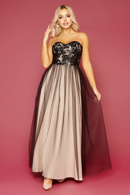 пышное платье с открытыми плечами. платье Макария б/р. Цвет: черный-бежевый