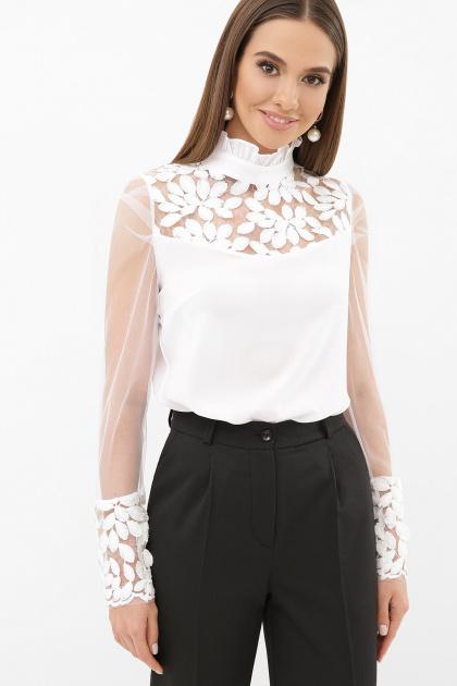 белая блузка с прозрачными рукавами. блуза Соломея д/р. Цвет: белый