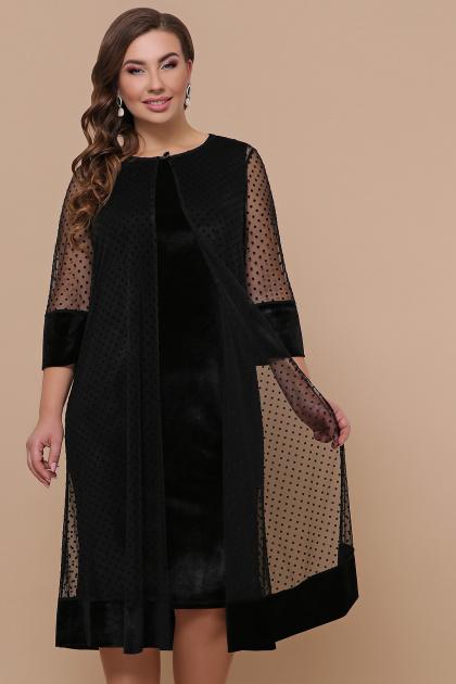 черное платье для полных с накидкой. платье Элеонора-Б б/р. Цвет: черный