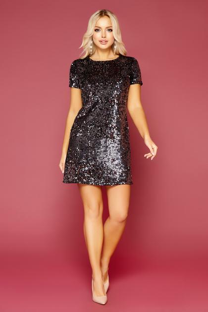 золотистое мини платье. платье Ираида к/р. Цвет: черный-сирень