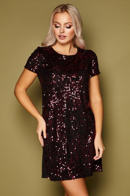 золотистое мини платье. платье Ираида к/р. Цвет: черный-бордо