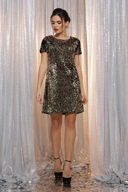 золотистое мини платье. платье Ираида к/р. Цвет: черный-золото