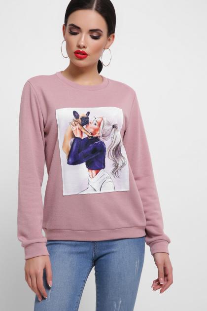 розовый свитшот с принтом. Девушка с собачкой Свитшот Т (весна) д/р. Цвет: персик