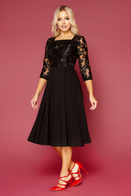кружевное платье батал. платье Тифани Б д/р. Цвет: черный