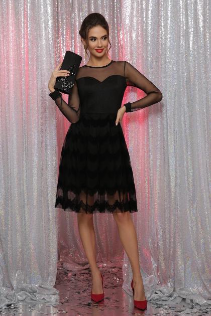 платье цвета электрик с сеткой. платье Алина д/р. Цвет: черный