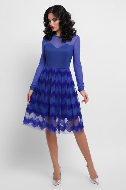 платье цвета электрик с сеткой. платье Алина д/р. Цвет: электрик
