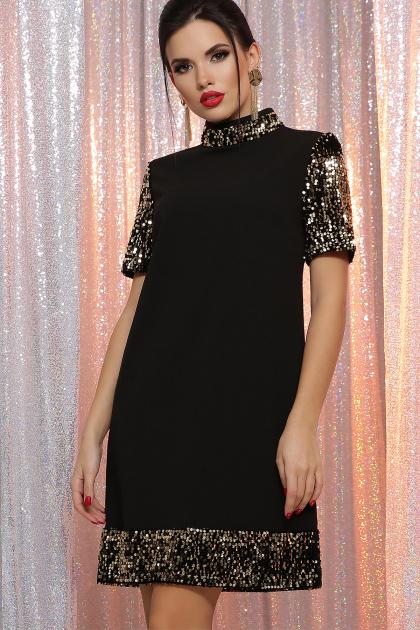 платье трапеция с пайетками. платье Бетти к/р. Цвет: черный-золото