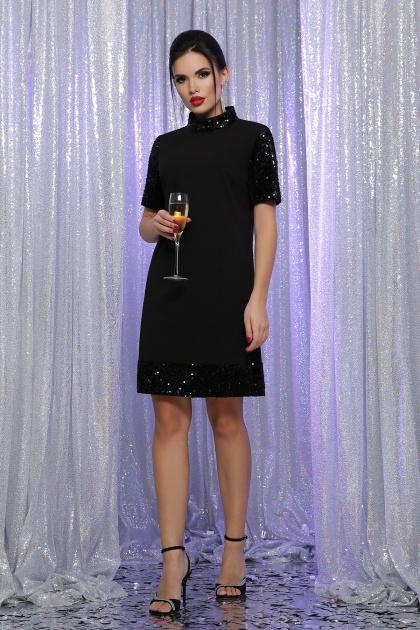 платье трапеция с пайетками. платье Бетти к/р. Цвет: черный-черный