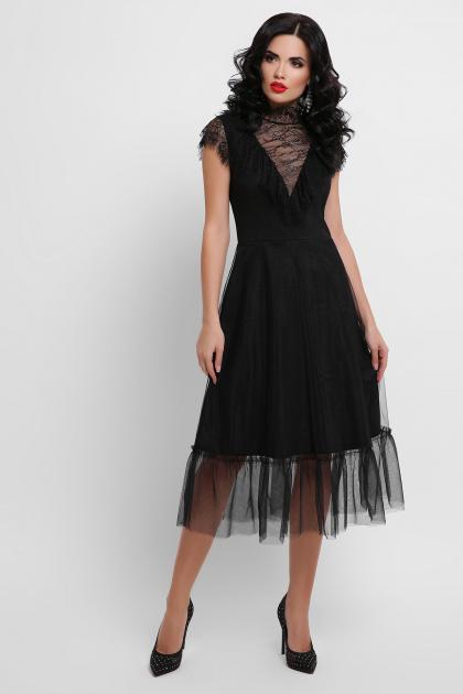 кружевное черное платье. платье Эрмина б/р. Цвет: черный