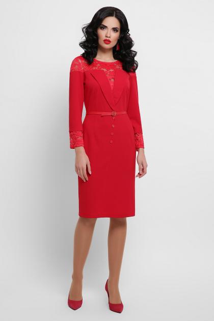 лиловое платье с кружевом. платье Леония д/р. Цвет: красный