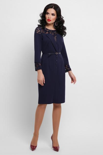 лиловое платье с кружевом. платье Леония д/р. Цвет: синий