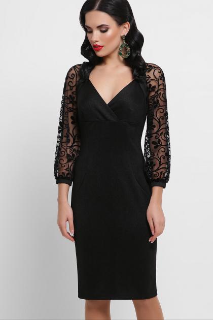 красное платье с ажурными рукавами. платье Флоренция д/р. Цвет: черный 1