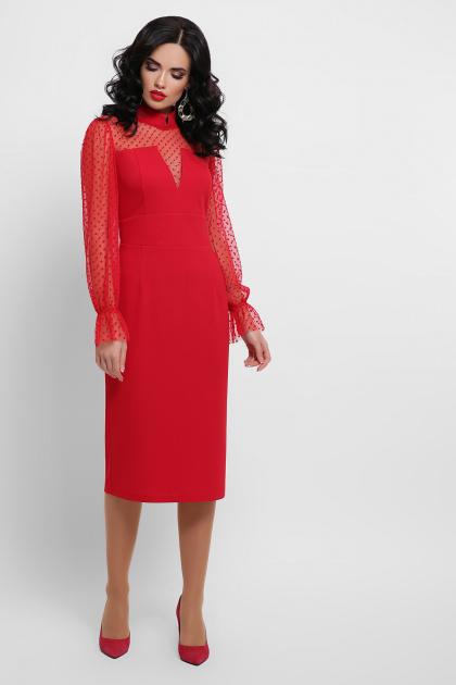 красное платье футляр. платье Лукьяна д/р. Цвет: красный