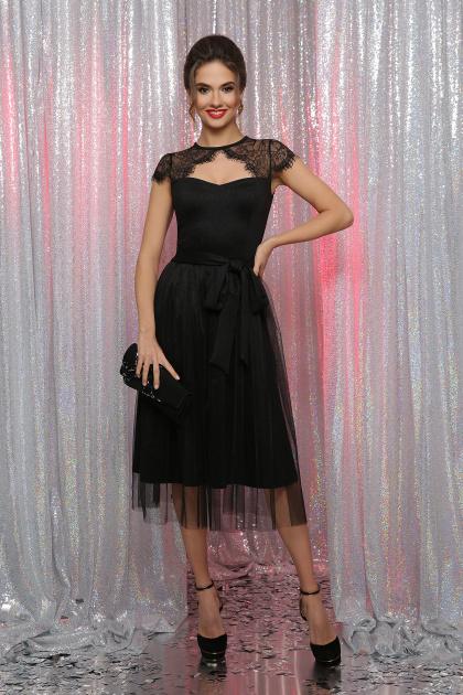 черное платье с кружевом. платье Флориана к/р. Цвет: черный