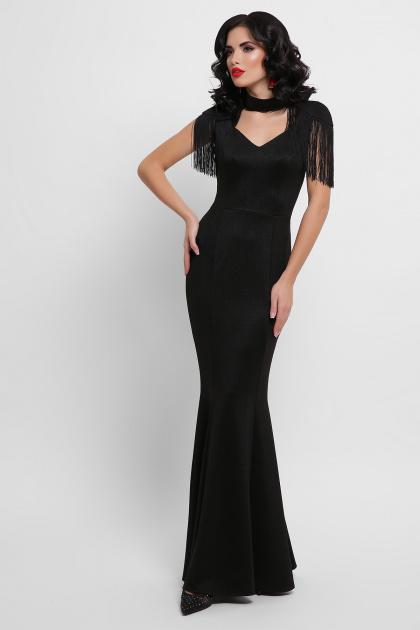 платье годе с бахромой. платье Альфия б/р. Цвет: черный