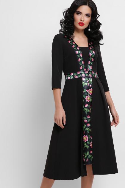 черное платье с цветочным принтом. Орнамент Платье Вилора П д/р. Цвет: черный
