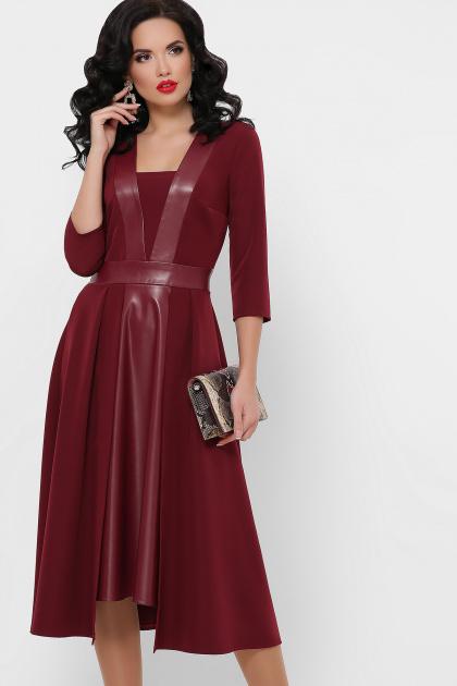 черное платье с кожаными вставками. платье Вилора д/р. Цвет: бордо