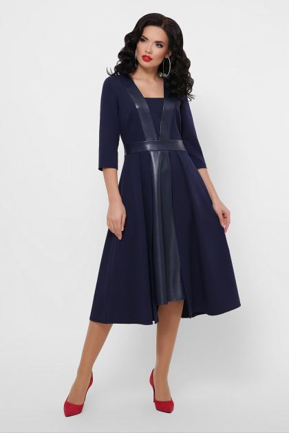 черное платье с кожаными вставками. платье Вилора д/р. Цвет: синий