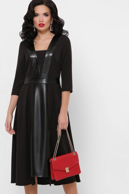 черное платье с кожаными вставками. платье Вилора д/р. Цвет: черный