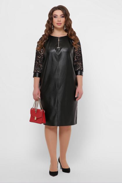 черное кожаное платье для полных. платье Меган-Б д/р. Цвет: черный