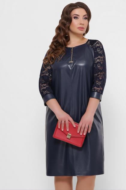 черное кожаное платье для полных. платье Меган-Б д/р. Цвет: синий