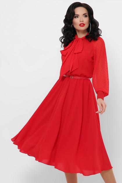 красное платье с юбкой полусолнце. платье Аля д/р. Цвет: красный